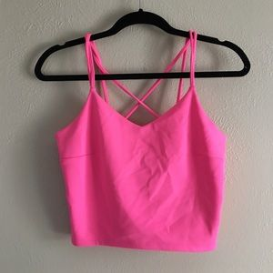 Express Hot Pink Cross back Crop Top in Small